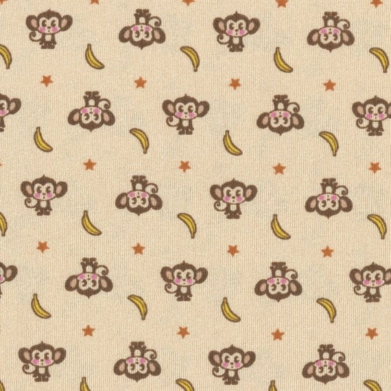 Monkey n Bananas on Pale Peach Cotton Baby Rib Knit Fabric, FQ 18 x 27 inches
