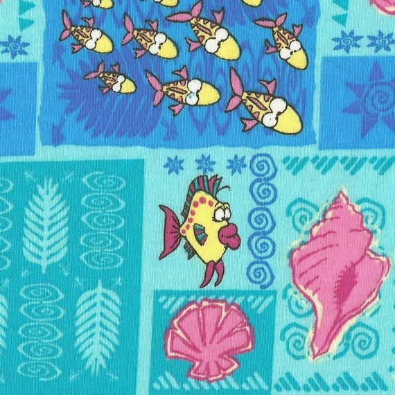 PATCHWORK of UNDERSEA LIFe Cotton Jersey Knit Fabric, FQ 18 X 29 inches