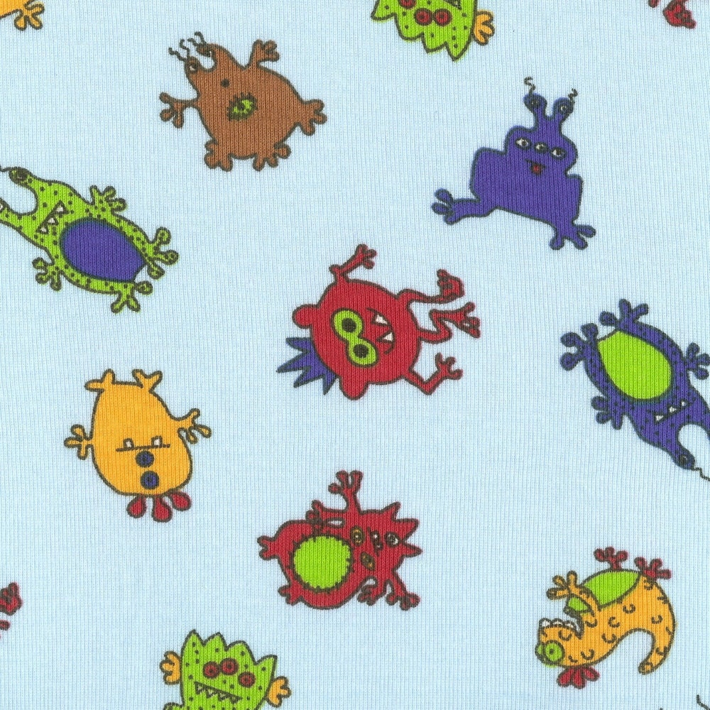 Alien monsters cotton baby rib knit fabric by the yard for Baby fabric by the yard