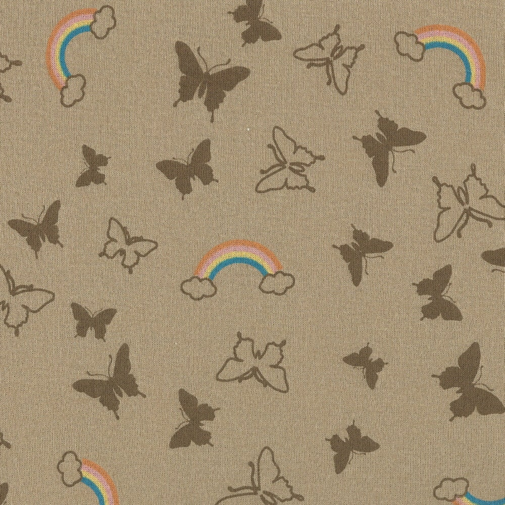 Butterfly rainbows cotton baby rib knit fabric 1 yard for Baby fabric by the yard