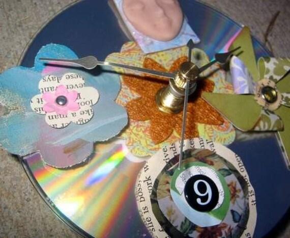 Upcycled Embellished CD Clock
