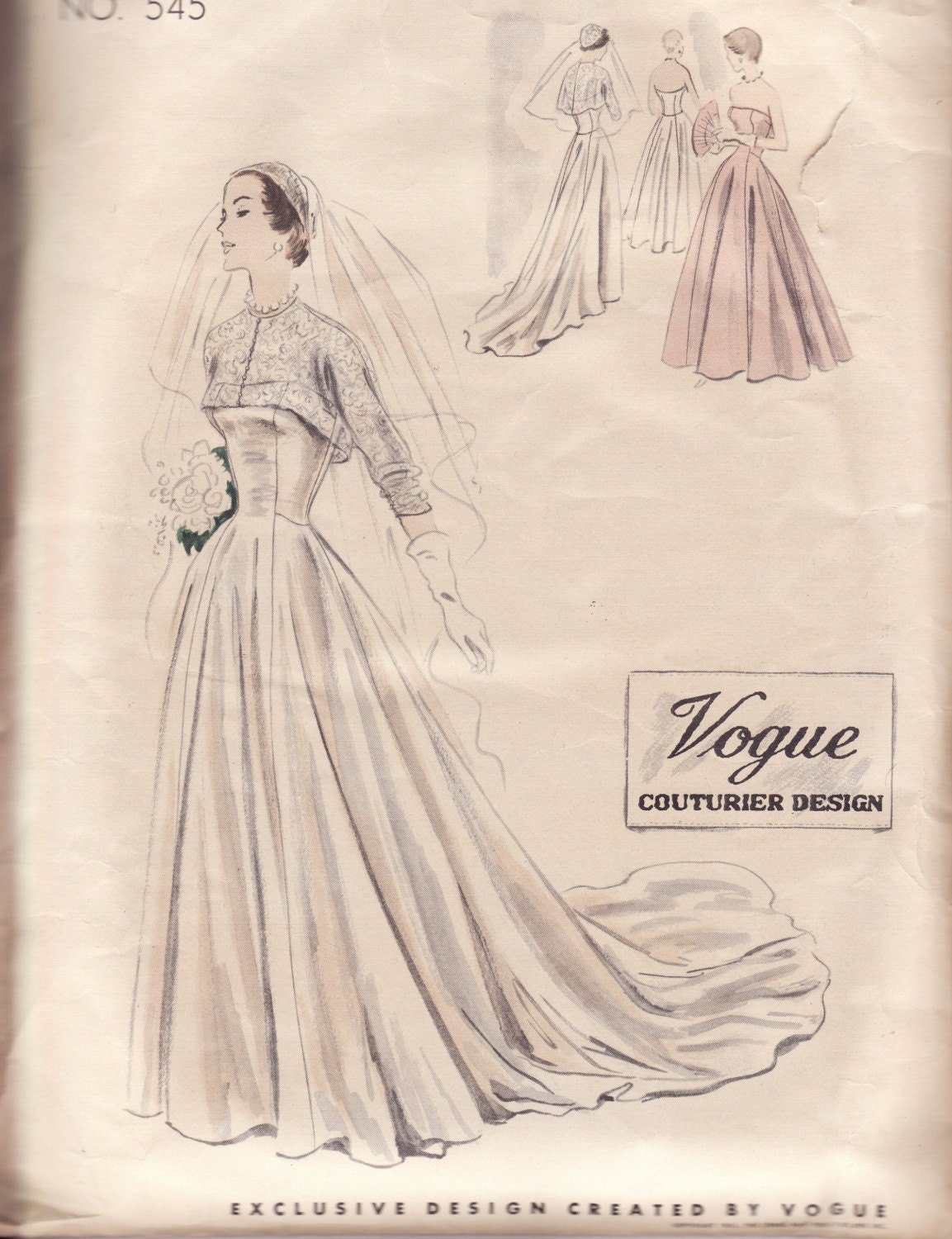 Vintage vogue wedding dress pattern 1950s style 545 for Wedding dress patterns vintage