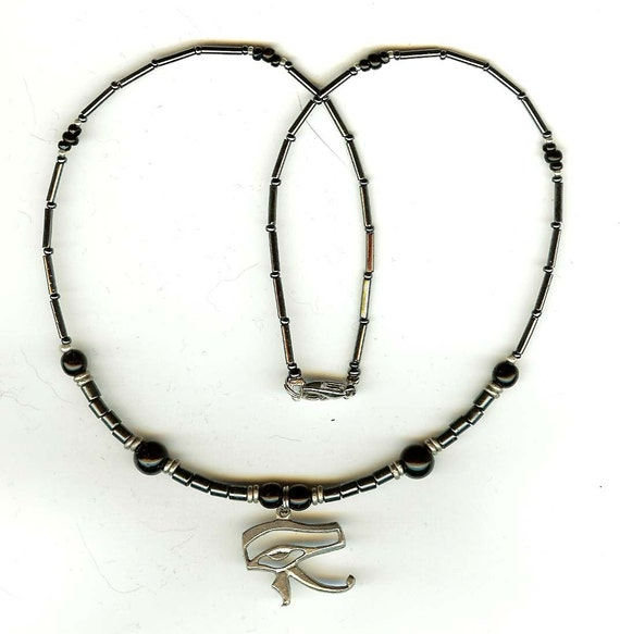 eye of ra horus necklace black and hematite by