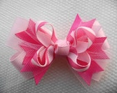 Candy Pink w\/ Tulle Mini Boutique HAIRBOW