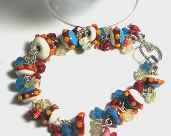 Southwestern Turquoise, , Red, Yellow Lampwork Bead Bracelet Sterling silver Toggle coral, citrine, swarovski,  SRAJD Team LE Team Handmade