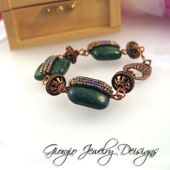 Yellow Turquoise n Copper Bracelet.