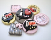 I Love/I Hate Speech Bubbles Polymer Clay Buttons-Set of 7