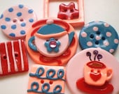 Tea Time Polymer Clay Buttons-Set of 7