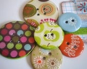 BIG Chipboard Epoxy Buttons-Set of 6-Going Green Collection-Embroidery Floss Included