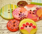 BIG Chipboard Epoxy Buttons-Set of Six-Bouquet of Flowers-Embroidery Floss Included