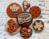 Baking Cookies Polymer Clay Buttons-Set of 7