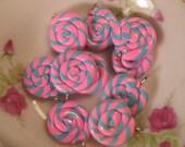 8pcs Swirl Candy Charms 20mm - SCC-04 - Bubble Gum