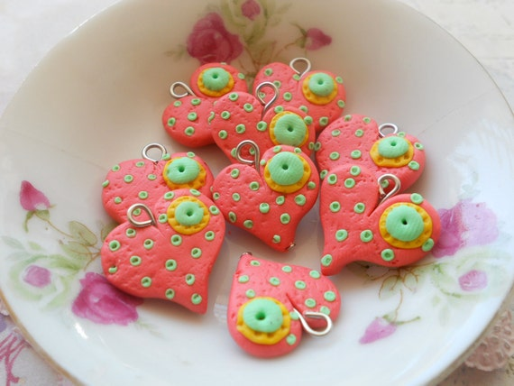 Sweethearts Collection Charms 20mm - Peachy Heart - 5pcs