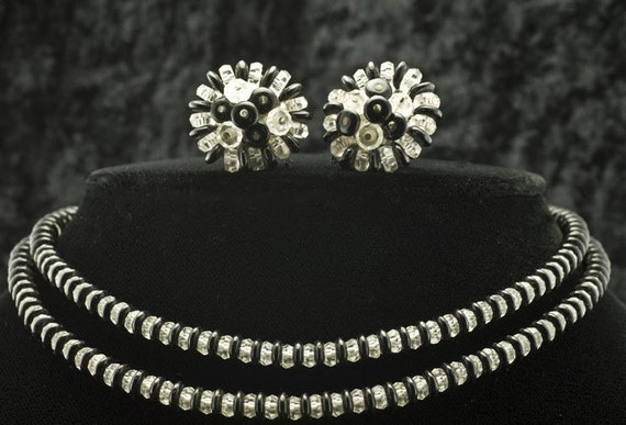 Laguna Necklace and Earrings Black and Crystal 1970s Short Choker Style Necklace and Clip Earrings - Vintage