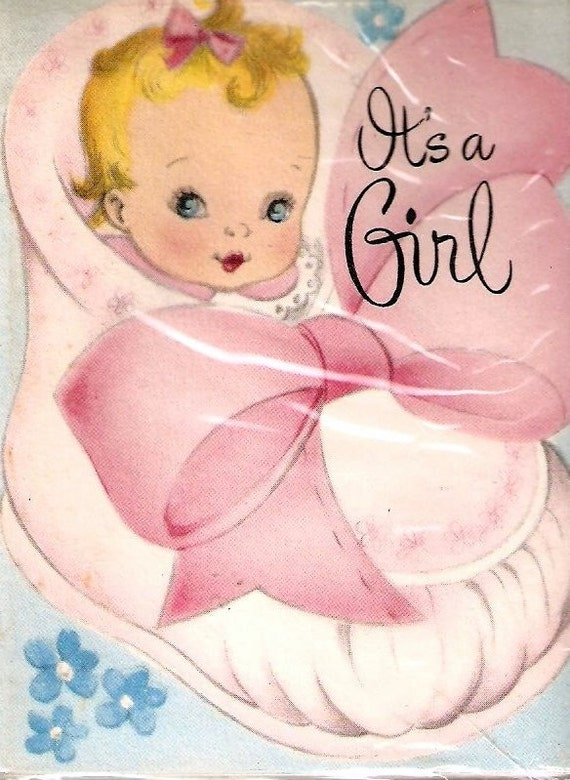 Vintage Its a Girl baby birth announcement – Vintage Birth Announcement
