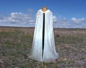 White Velvet Cloak Cape Hooded Renaissance Prom Halloween