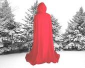 Red Cloak - Cape -  Fleece - Hooded - Renaissance - Little Red Riding Hood - Harry Potter