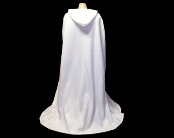 Cloak - White Fleece -Hooded  Cape - Wedding - Renaissance -  Costume