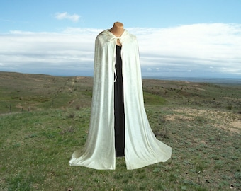 Cloak Cape Ivory Velvet Hooded Medieval Wedding Renaissance Harry Potter  Costume Lord of the Rings