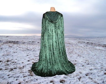 Cape Cloak Fir Green Hooded  Velvet Renaissance Medieval Costume Wedding