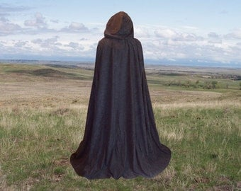 Black Cape  Cloak Hooded Faux Suede  Halloween Renaissance Cloak Medieval Gothic Merlin Twilight Vampire