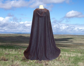 Black Hooded Cape Cloak Faux Suede Halloween Renaissance Cloak Medieval Gothic Merlin Vampire