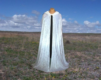 White Velvet Cloak Cape Hooded Renaissance Prom Halloween