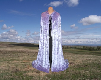 Cloak Cape Lavender Velvet Hooded Wedding Purple Halloween Medieval Renaissance Clothing