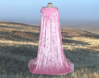 Pink Cloak Hooded Cape Velvet Renaissance Medieval Camelot Prom Wedding Halloween