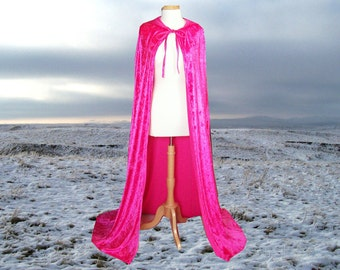 Hot Pink Velvet Hooded Cape Cloak  Wedding Renaissance Prom Costume Halloween