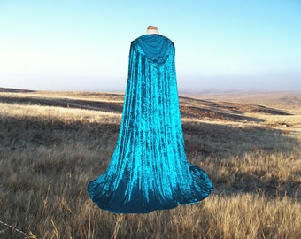 Turquoise Cloak Cape Medieval Renaissance Wedding Costume Blue Green Halloween