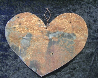 Valentine's Day Tin Heart Metal Antique Tin Upcycled From Barn Roof