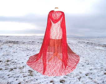 Red Lace Cape - Cloak -  Hooded - Wedding - Gothic - Medieval - Vampire- Costume - Renaissance Halloween