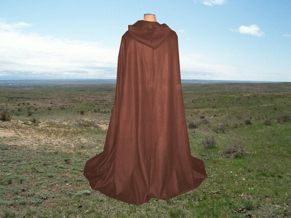 Brown Cloak Cape Fleece Hooded Costume Renaissance Medieval Gothic Wedding Halloween