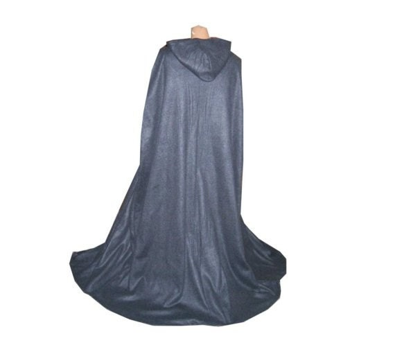 Halloween Cape Cloak Hooded Renaissance Wedding Medieval Costume Grey Fleece