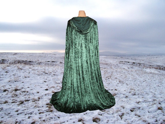 Christmas Cape Cloak Fir Green Hooded  Velvet Renaissance Medieval Costume Wedding