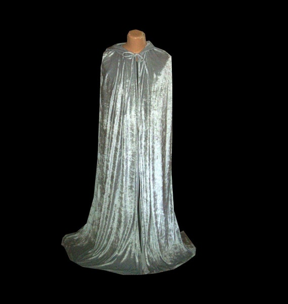 Grey Cloak Cape Silver Velvet Hooded Harry Potter Wedding  Halloween Costume