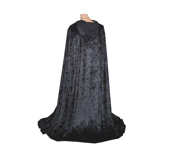 Black cloak hooded cape renaissance medieval vampire velvet Halloween costume