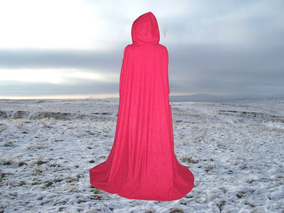 Red Cloak Cape Hooded  Renaissance Medieval Camelot Prom Wedding Little Red Riding Hood