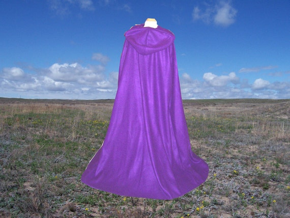 Purple Cloak - Halloween - Hooded Fleece Cape - Renaissance Festival - Costume Ball