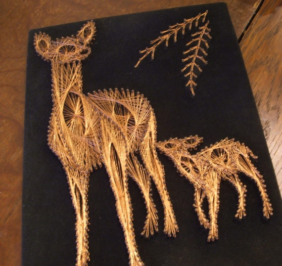 Copper String Art Deer and Fawn Wall hanging on Black Velvet - RESERVED for MnBrie