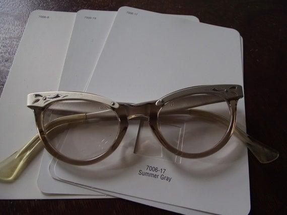 Aluminum and Smoke Cateye Eyeglass Frames