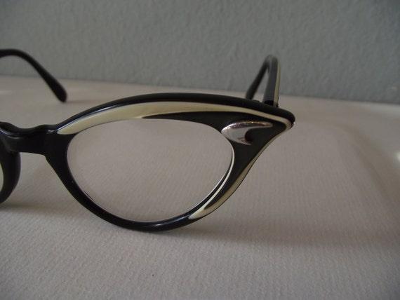 Black and White Cateye Eyeglass Frames - Bakelite