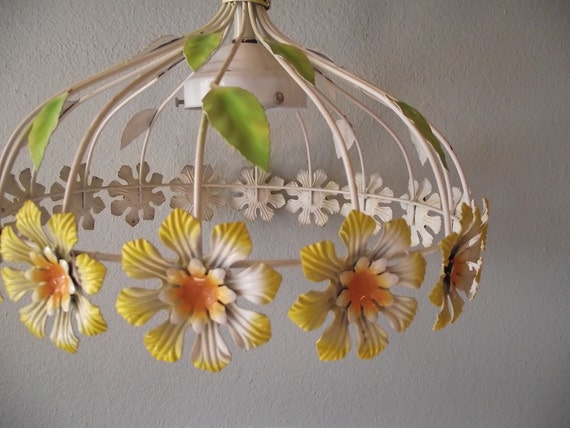 Vintage Tole Metal Flower Power Daisy Light Fixture