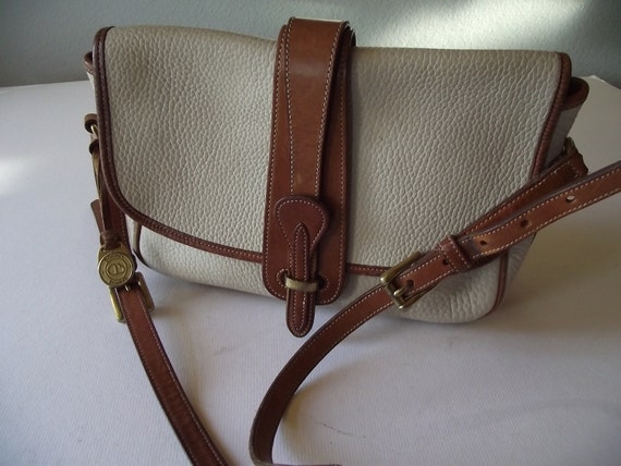 Vintage Dooney and Bourke Tan and White Leather Satchel Purse