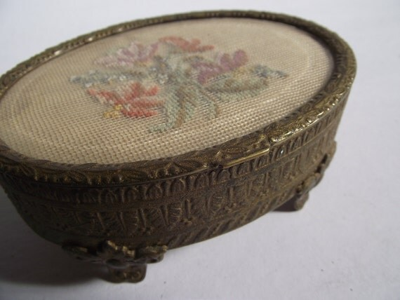 Antique Brass and Needlepoint Trinket Casket - Made in Austria