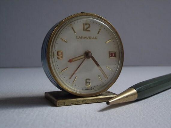 Vintage Caravelle Miniature Enamel Alarm Clock