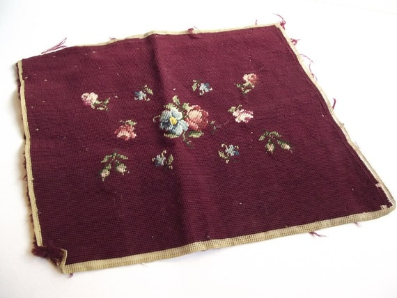 Wool Needlepoint Floral - Unfinished Scrap