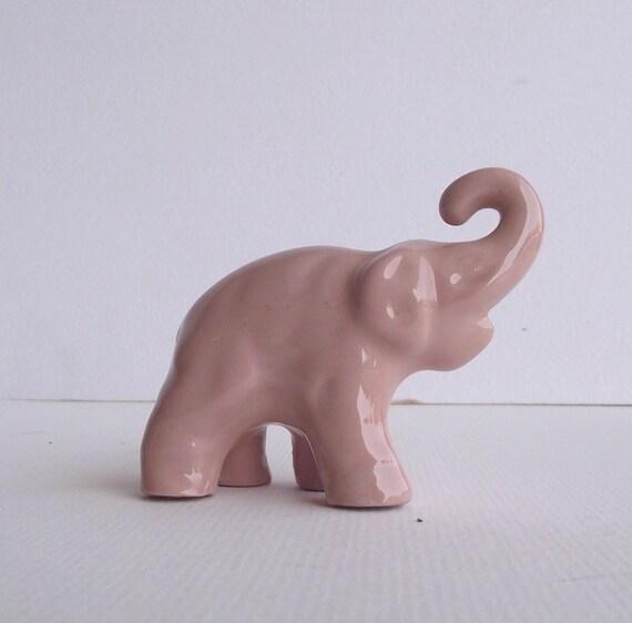 Vintage USA Pottery Elephant Figurine - Rare Pink