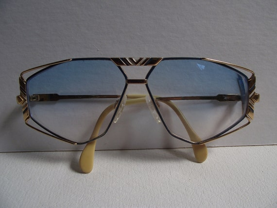 Vintage Cazal Eye Glasses Model 956 with Blue and White Enamel Frames